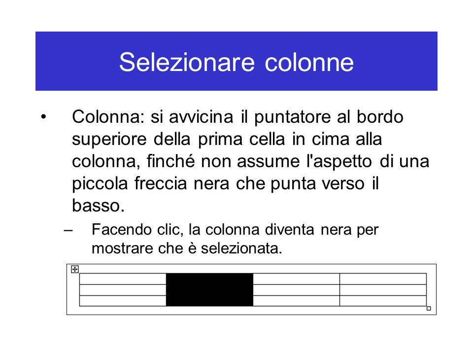 Selezionare colonne Colonna: si avvicina il puntatore al bordo superiore della prima cella in cima alla colonna, finché non assume l'aspetto di una pi