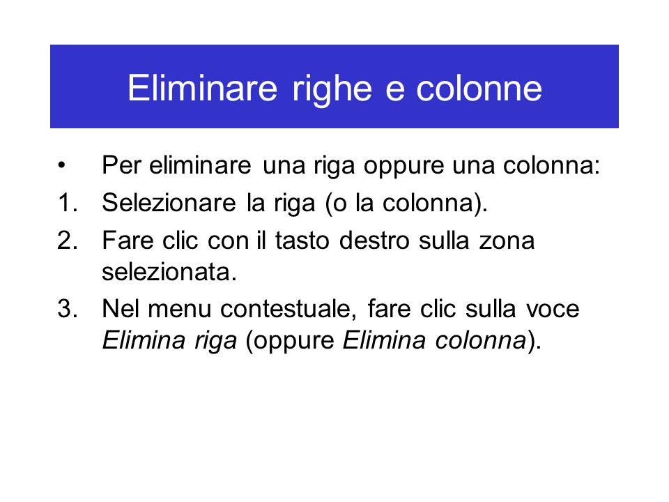 Eliminare righe e colonne Per eliminare una riga oppure una colonna: 1.Selezionare la riga (o la colonna). 2.Fare clic con il tasto destro sulla zona