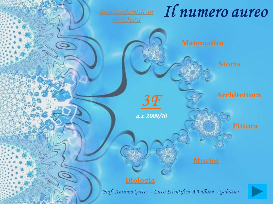 Il numero aureo Storia Pittura Architettura Musica Biologia 3F a.s. 2009/10 Prof. Antonio Greco - Liceo Scientifico A.Vallone - Galatina Matematica Re