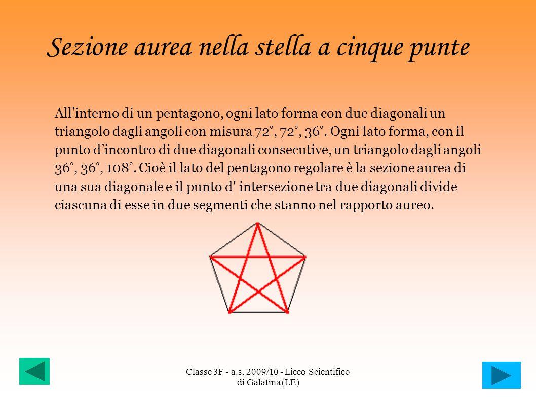 Sezione aurea nella stella a cinque punte Allinterno di un pentagono, ogni lato forma con due diagonali un triangolo dagli angoli con misura 72°, 72°,