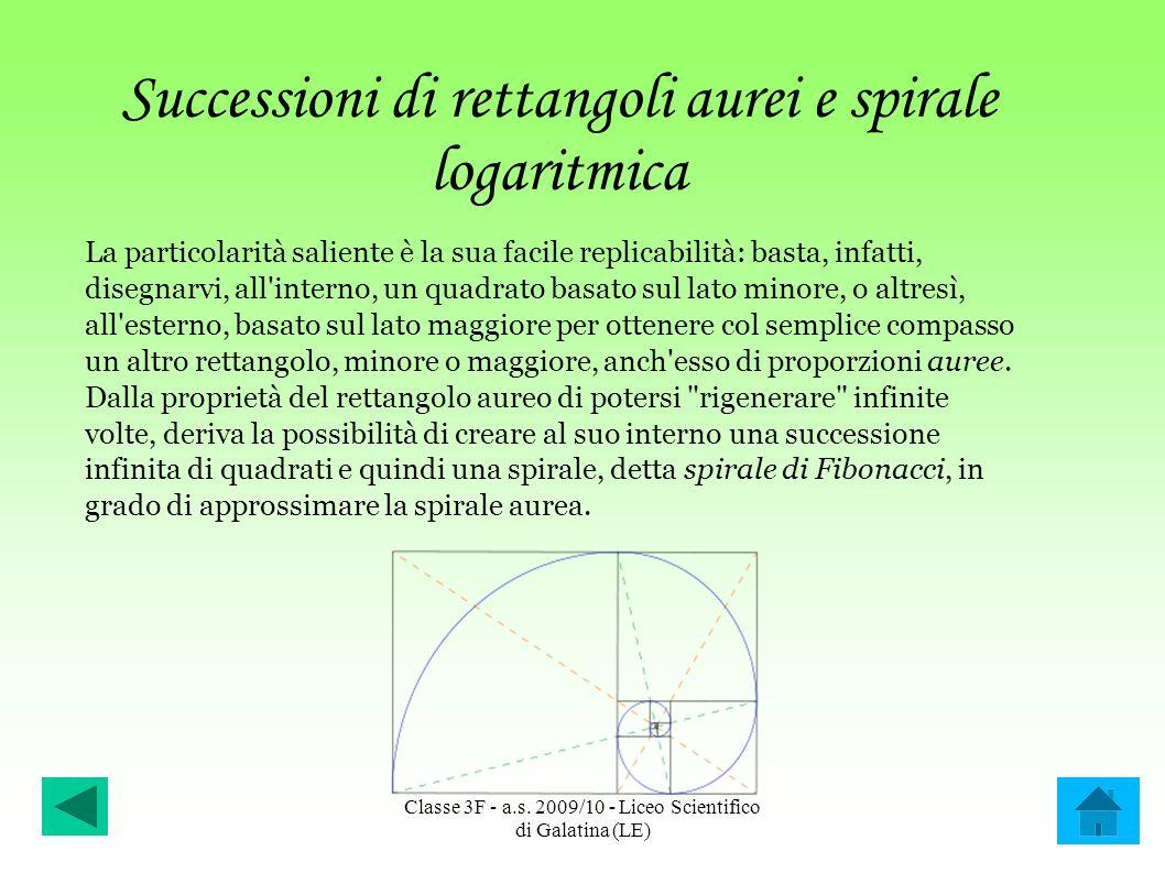 Successioni di rettangoli aurei e spirale logaritmica La particolarità saliente è la sua facile replicabilità: basta, infatti, disegnarvi, all'interno