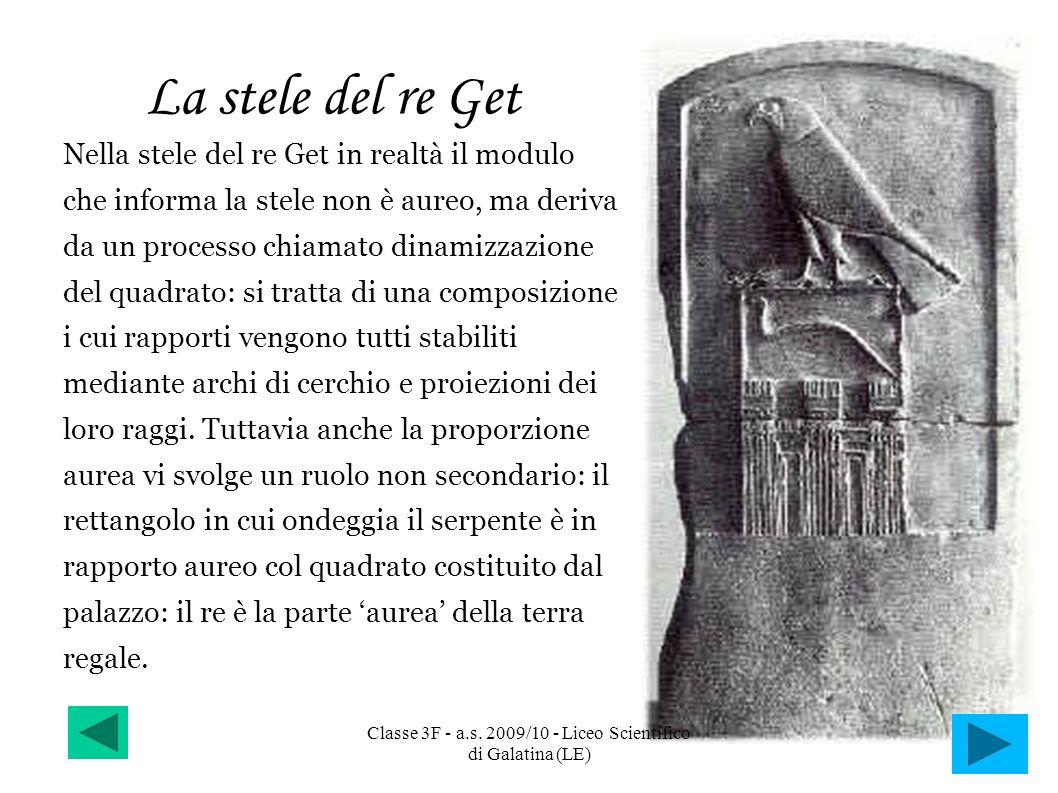 La stele del re Get Nella stele del re Get in realtà il modulo che informa la stele non è aureo, ma deriva da un processo chiamato dinamizzazione del