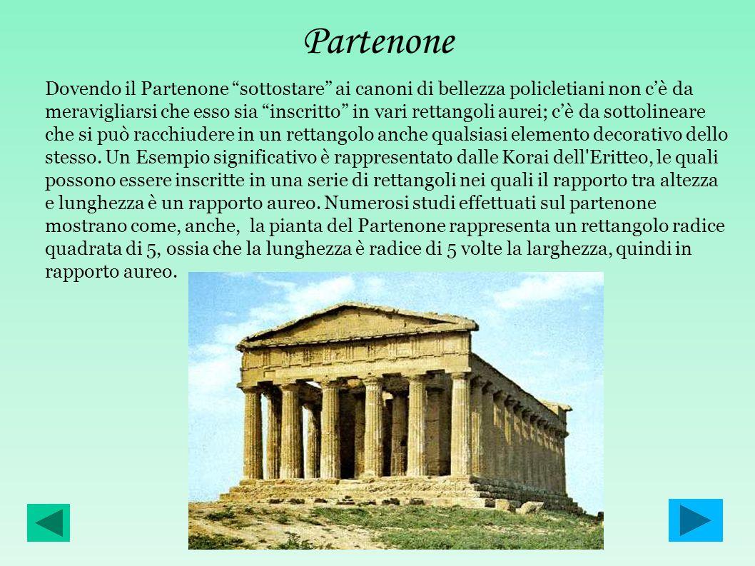 Partenone Dovendo il Partenone sottostare ai canoni di bellezza policletiani non cè da meravigliarsi che esso sia inscritto in vari rettangoli aurei;