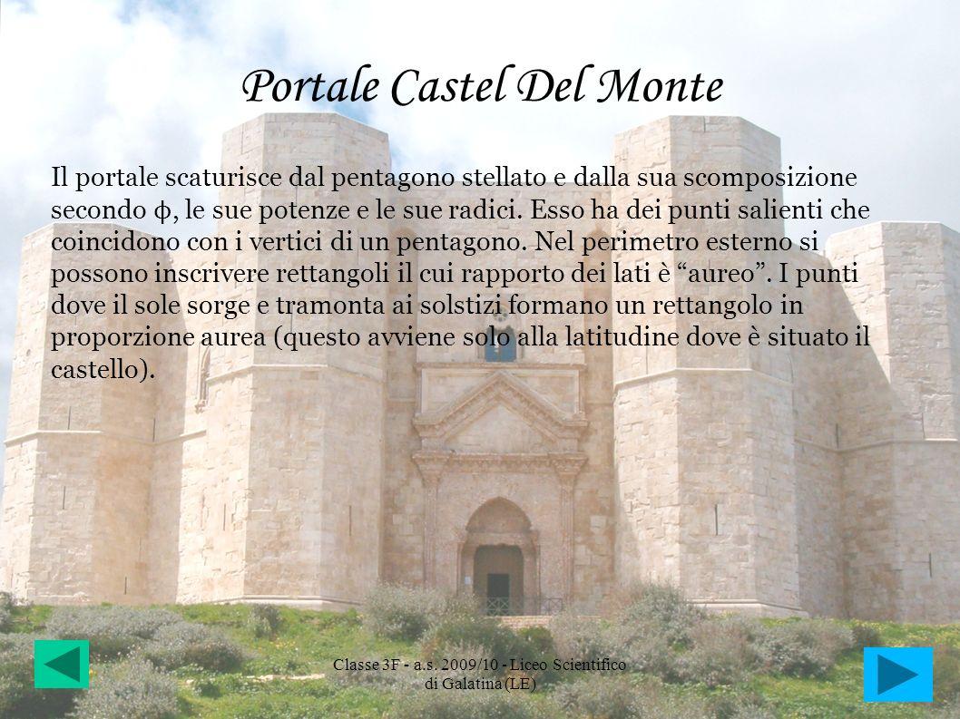 Portale Castel Del Monte Il portale scaturisce dal pentagono stellato e dalla sua scomposizione secondo ϕ, le sue potenze e le sue radici. Esso ha dei