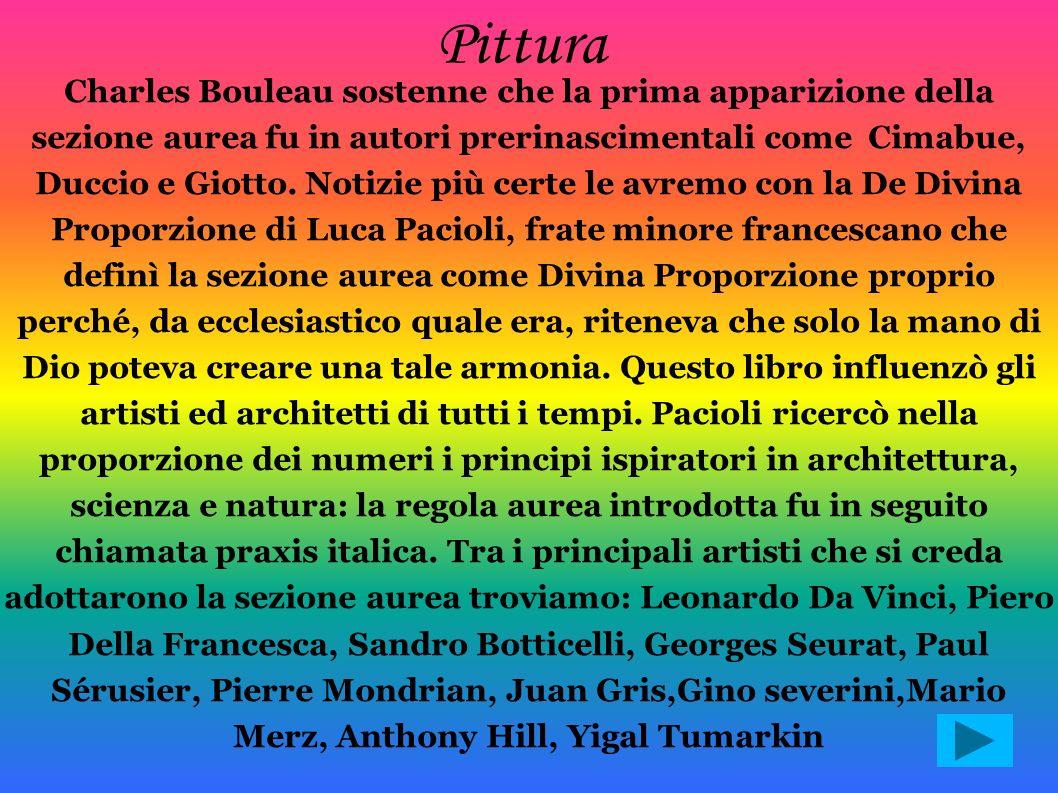 Charles Bouleau sostenne che la prima apparizione della sezione aurea fu in autori prerinascimentali come Cimabue, Duccio e Giotto. Notizie più certe