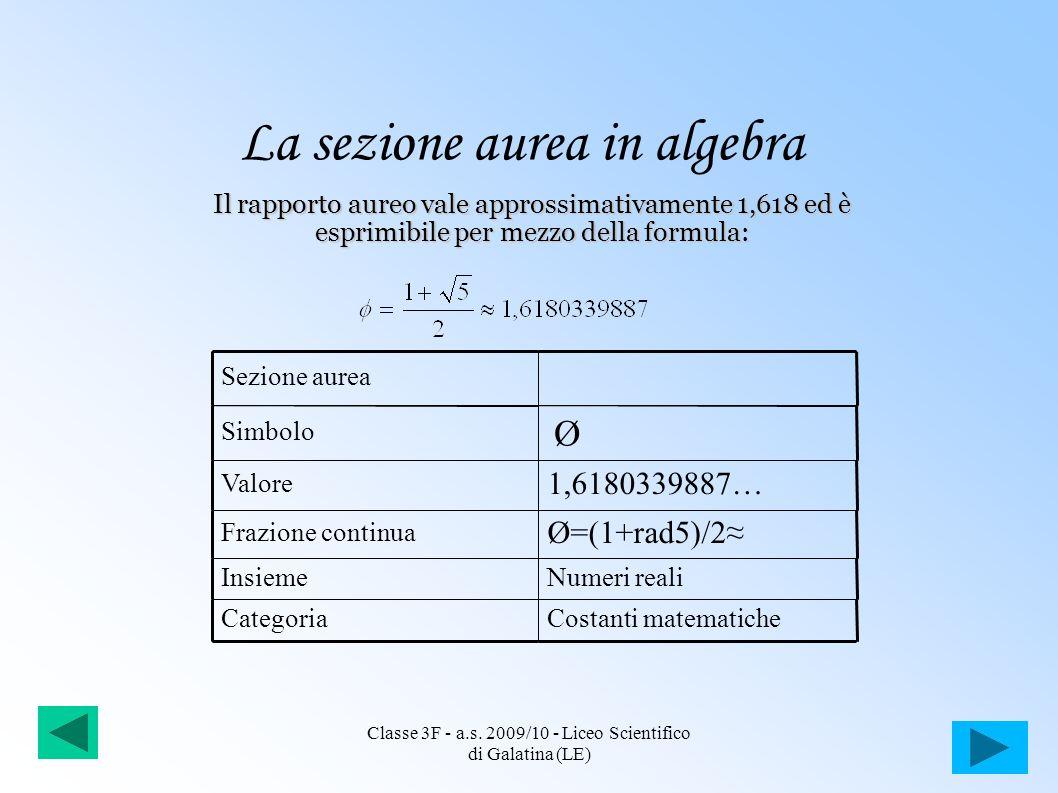 La sezione aurea in algebra Il rapporto aureo vale approssimativamente 1,618 ed è esprimibile per mezzo della formula: Sezione aurea Simbolo Valore 1,