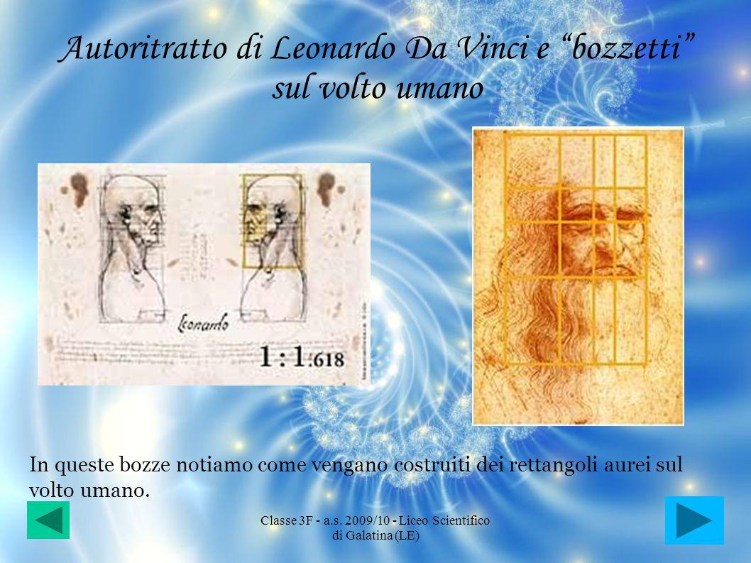Autoritratto di Leonardo Da Vinci e bozzetti sul volto umano In queste bozze notiamo come vengano costruiti dei rettangoli aurei sul volto umano. Clas