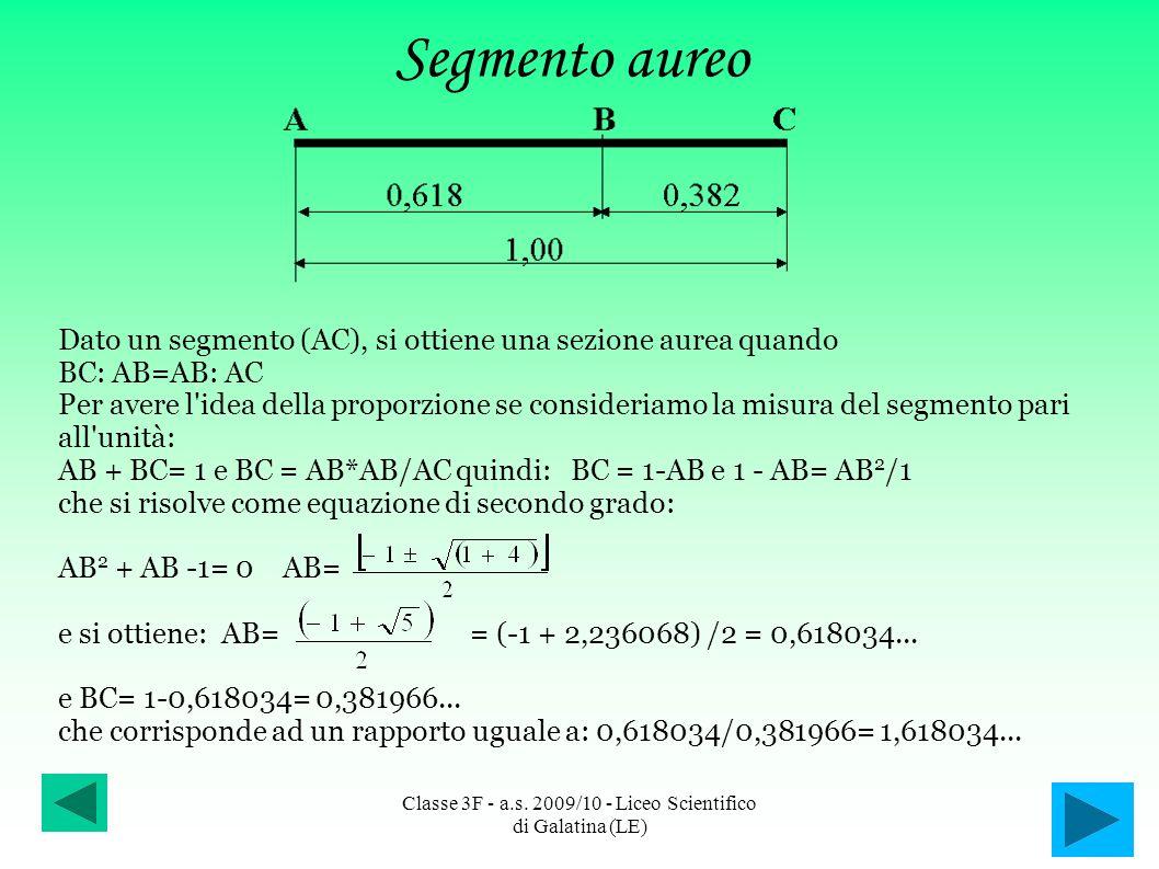 Segmento aureo Dato un segmento (AC), si ottiene una sezione aurea quando BC: AB=AB: AC Per avere l'idea della proporzione se consideriamo la misura d