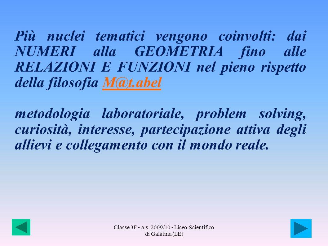 Classe 3F - a.s. 2009/10 - Liceo Scientifico di Galatina (LE) Più nuclei tematici vengono coinvolti: dai NUMERI alla GEOMETRIA fino alle RELAZIONI E F