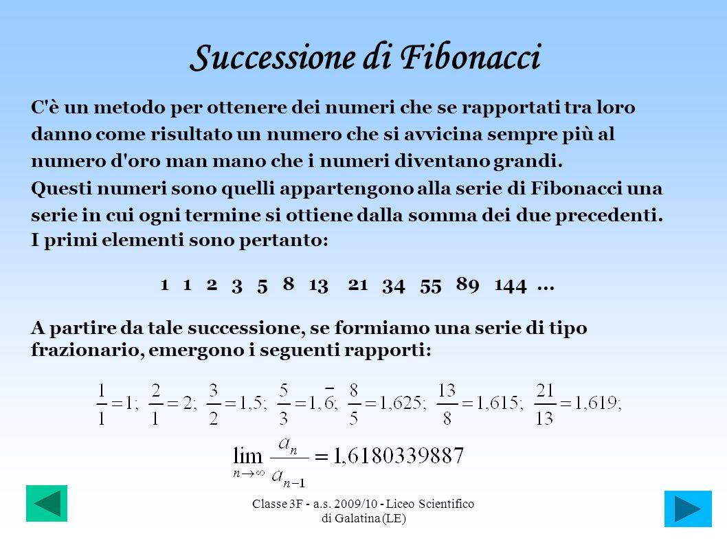 Successione di Fibonacci C'è un metodo per ottenere dei numeri che se rapportati tra loro danno come risultato un numero che si avvicina sempre più al