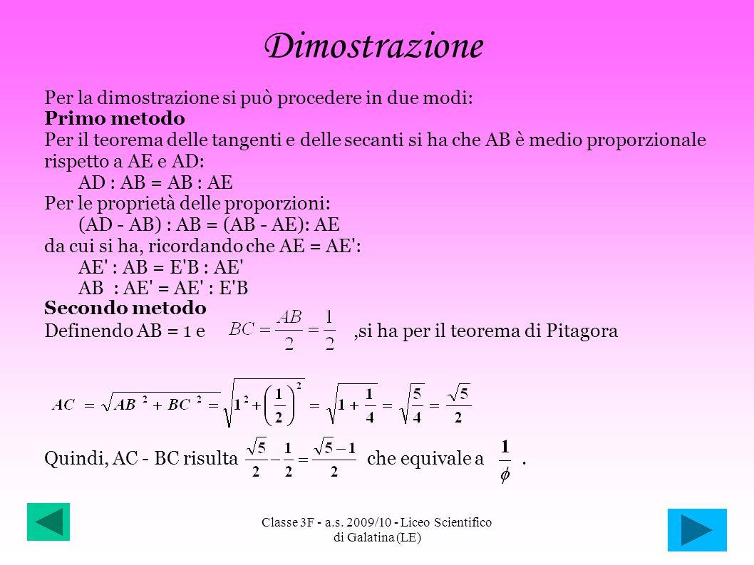 Dimostrazione Per la dimostrazione si può procedere in due modi: Primo metodo Per il teorema delle tangenti e delle secanti si ha che AB è medio propo