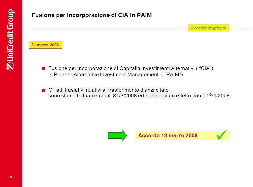 17 Fusione per incorporazione di CIA in PAIM Fusione per incorporazione di Capitalia Investimenti Alternativi ( CIA) in Pioneer Alternative Investment