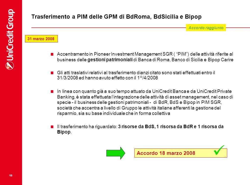 18 Trasferimento a PIM delle GPM di BdRoma, BdSicilia e Bipop Accentramento in Pioneer Investment Management SGR ( PIM) delle attività riferite al bus