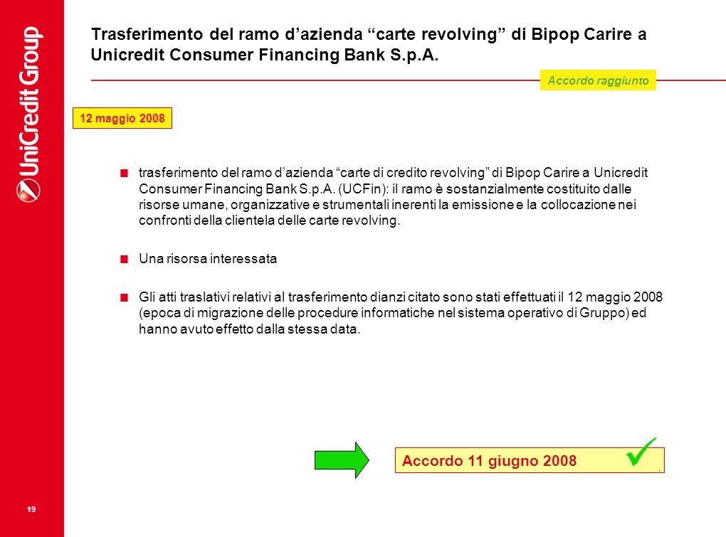 19 Trasferimento del ramo dazienda carte revolving di Bipop Carire a Unicredit Consumer Financing Bank S.p.A. trasferimento del ramo dazienda carte di