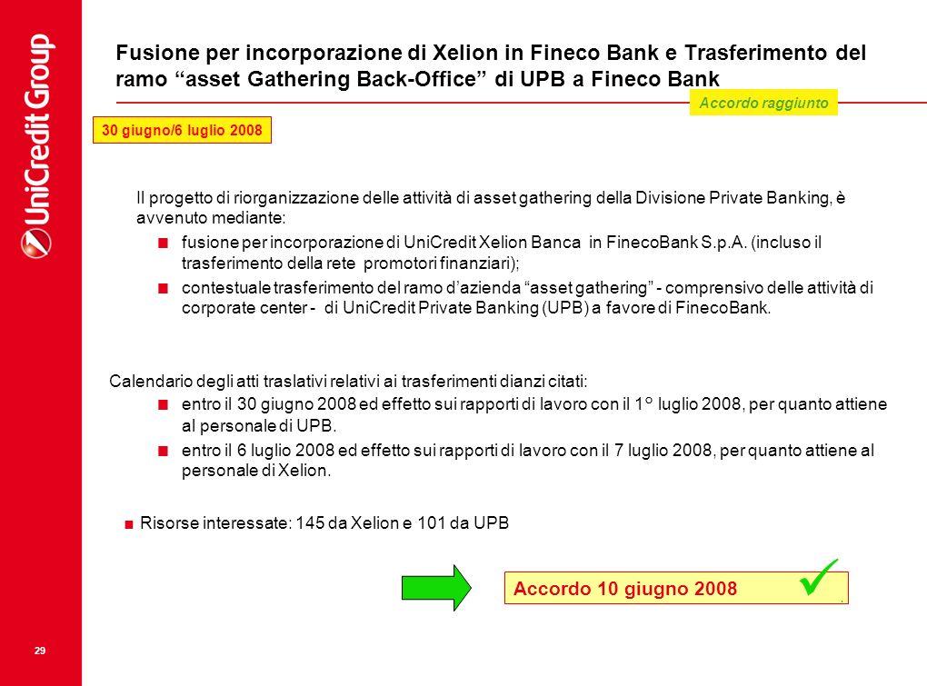 29 Fusione per incorporazione di Xelion in Fineco Bank e Trasferimento del ramo asset Gathering Back-Office di UPB a Fineco Bank Il progetto di riorga