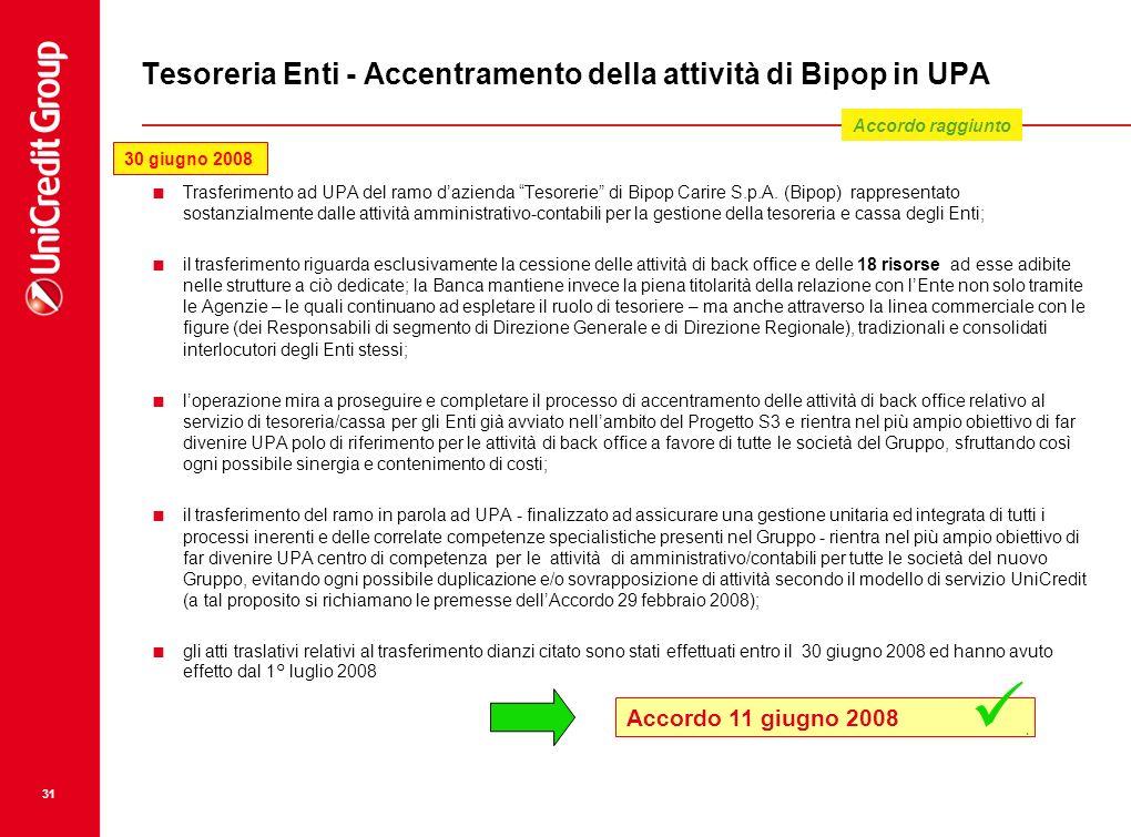 31 Tesoreria Enti - Accentramento della attività di Bipop in UPA Trasferimento ad UPA del ramo dazienda Tesorerie di Bipop Carire S.p.A. (Bipop) rappr