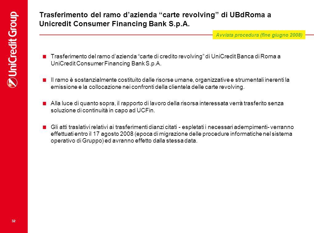 32 Trasferimento del ramo dazienda carte revolving di UBdRoma a Unicredit Consumer Financing Bank S.p.A. Trasferimento del ramo dazienda carte di cred