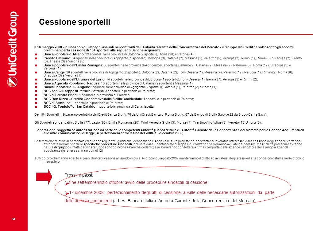 34 Il 16 maggio 2008 - in linea con gli impegni assunti nei confronti dellAutorità Garante della Concorrenza e del Mercato - il Gruppo UniCredit ha so