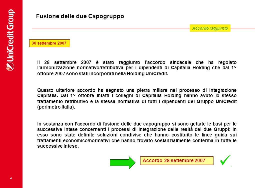 4 Fusione delle due Capogruppo Il 28 settembre 2007 è stato raggiunto laccordo sindacale che ha regolato larmonizzazione normativo/retributiva per i d