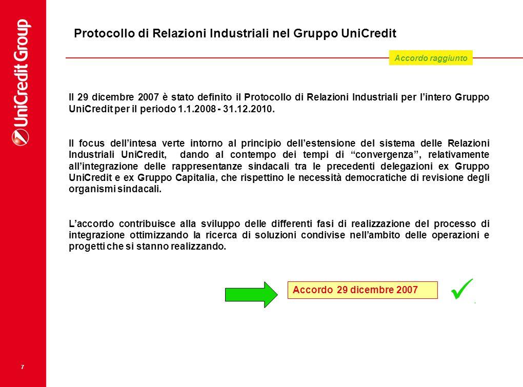 7 Protocollo di Relazioni Industriali nel Gruppo UniCredit Il 29 dicembre 2007 è stato definito il Protocollo di Relazioni Industriali per lintero Gru