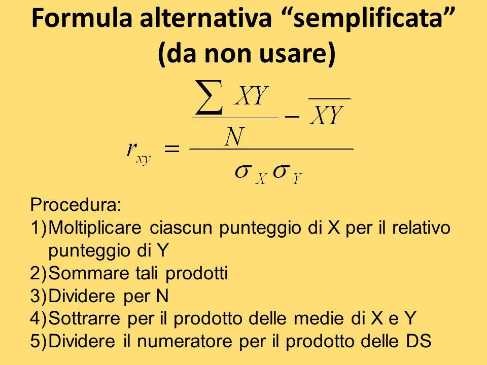 Formula alternativa semplificata (da non usare) Procedura: 1)Moltiplicare ciascun punteggio di X per il relativo punteggio di Y 2)Sommare tali prodott