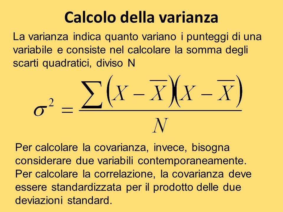Calcolo della varianza La varianza indica quanto variano i punteggi di una variabile e consiste nel calcolare la somma degli scarti quadratici, diviso