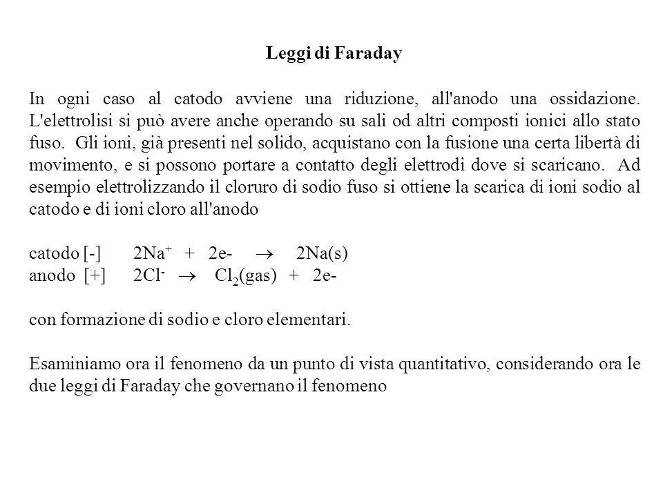Leggi di Faraday In ogni caso al catodo avviene una riduzione, all'anodo una ossidazione. L'elettrolisi si può avere anche operando su sali od altri c