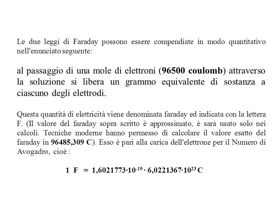 Le due leggi di Faraday possono essere compendiate in modo quantitativo nell'enunciato seguente: al passaggio di una mole di elettroni (96500 coulomb)