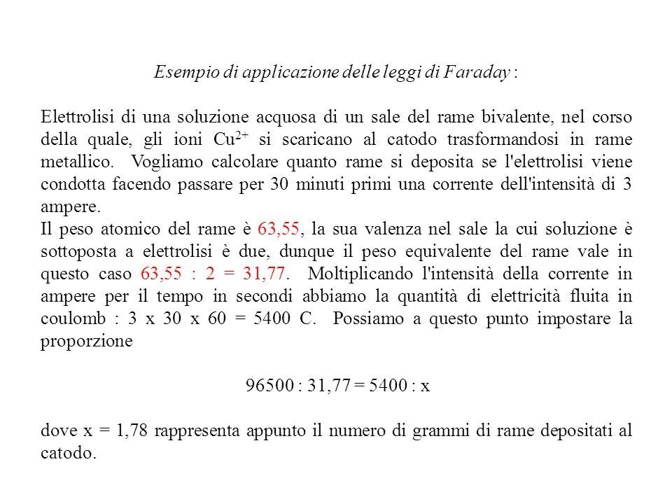 Esempio di applicazione delle leggi di Faraday : Elettrolisi di una soluzione acquosa di un sale del rame bivalente, nel corso della quale, gli ioni C