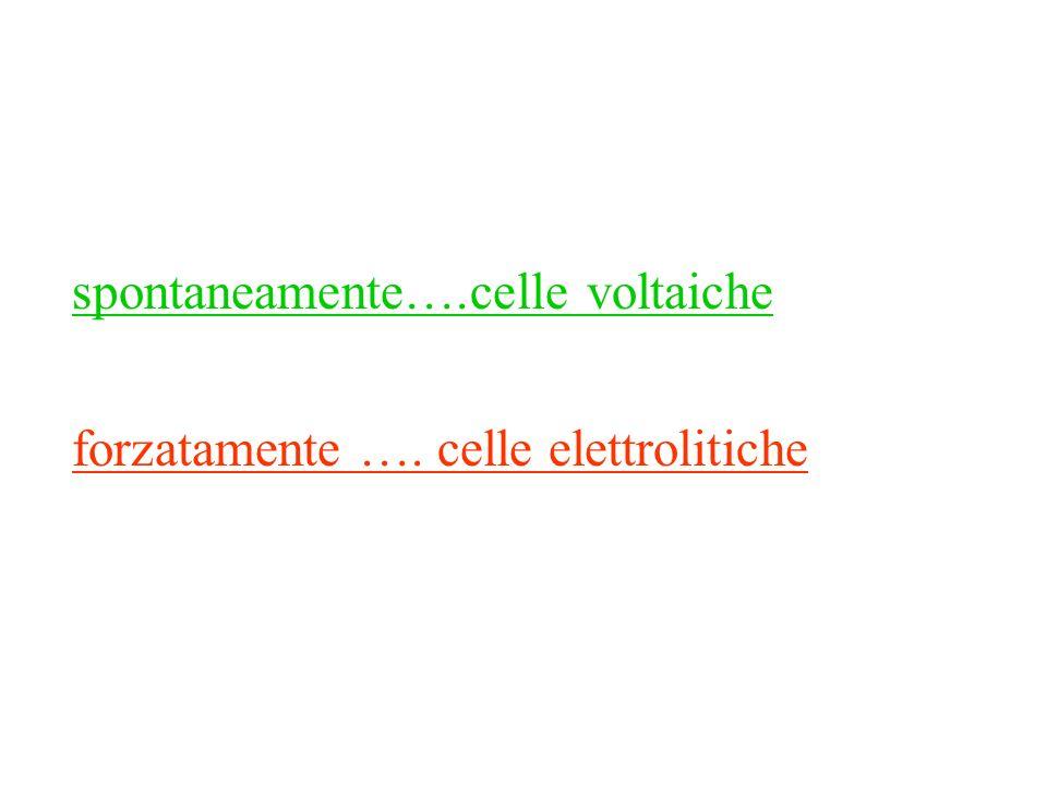 spontaneamente….celle voltaiche forzatamente …. celle elettrolitiche