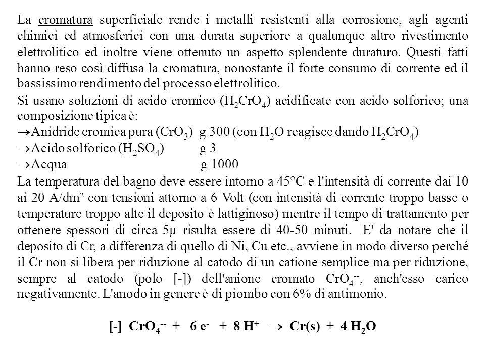 La cromatura superficiale rende i metalli resistenti alla corrosione, agli agenti chimici ed atmosferici con una durata superiore a qualunque altro ri