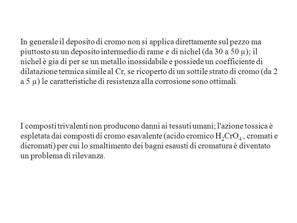 In generale il deposito di cromo non si applica direttamente sul pezzo ma piuttosto su un deposito intermedio di rame e di nichel (da 30 a 50 µ); il n