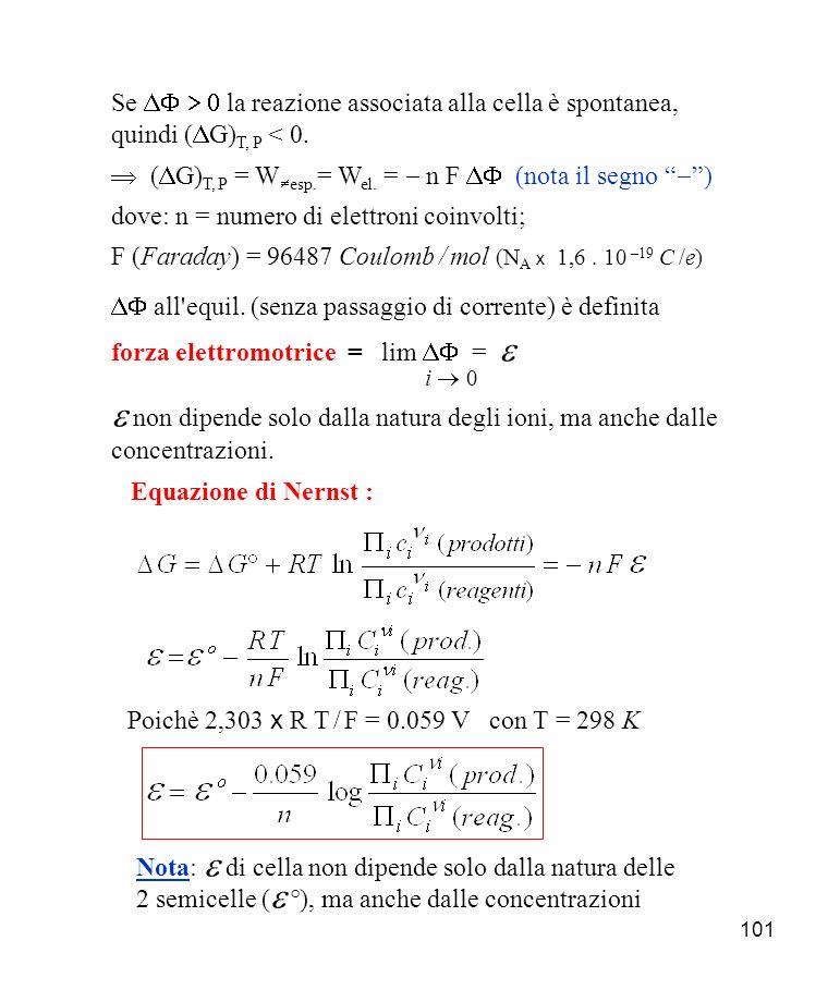 101 Se la reazione associata alla cella è spontanea, quindi ( G) T, P < 0.