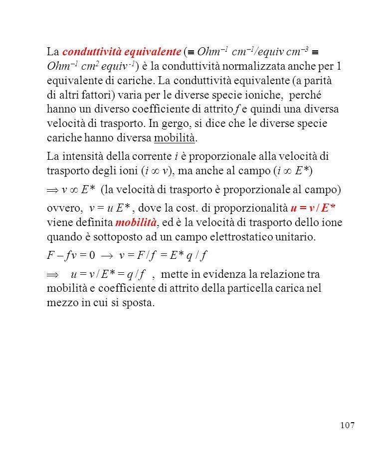 107 La conduttività equivalente ( Ohm 1 cm 1 /equiv cm 3 Ohm 1 cm 2 equiv -1 ) è la conduttività normalizzata anche per 1 equivalente di cariche.