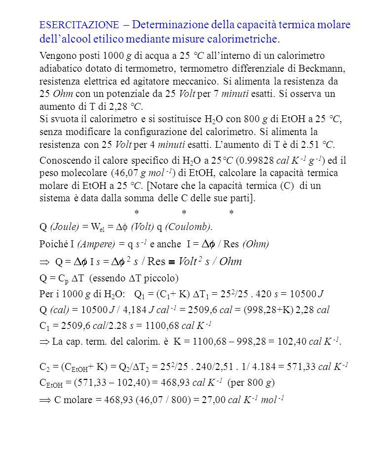 ESERCITAZIONE – Determinazione della capacità termica molare dellalcool etilico mediante misure calorimetriche.