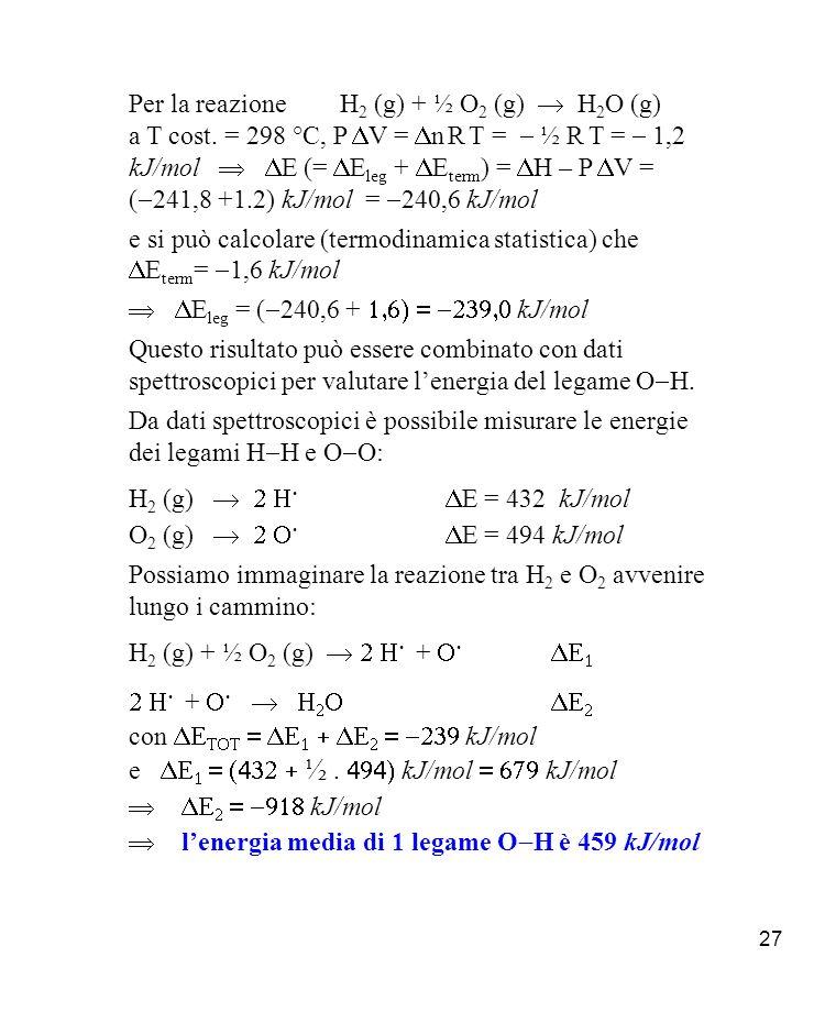 27 Per la reazione H 2 (g) + ½ O 2 (g) H 2 O (g) a T cost.