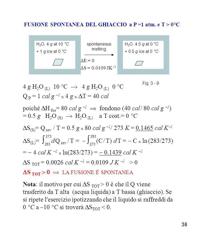 38 FUSIONE SPONTANEA DEL GHIACCIO a P =1 atm.