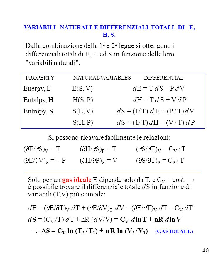 40 VARIABILI NATURALI E DIFFERENZIALI TOTALI DI E, H, S. PROPERTY NATURAL VARIABLES DIFFERENTIAL Energy, E E(S, V) d E = T d S – P d V Entalpy, H H(S,