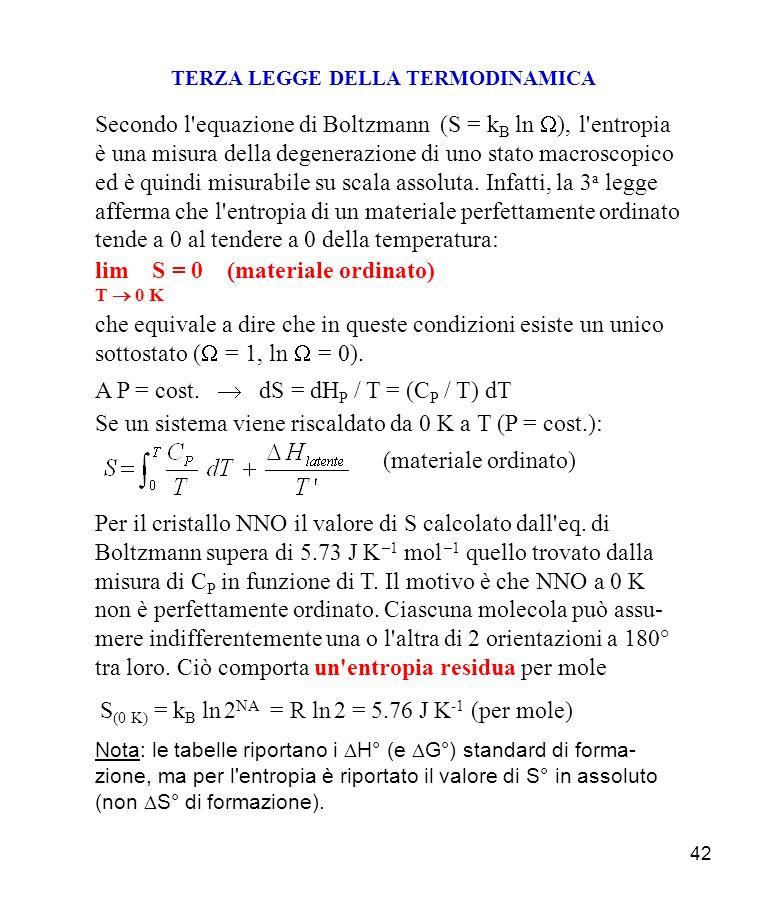 42 TERZA LEGGE DELLA TERMODINAMICA Secondo l equazione di Boltzmann (S = k B ln ), l entropia è una misura della degenerazione di uno stato macroscopico ed è quindi misurabile su scala assoluta.