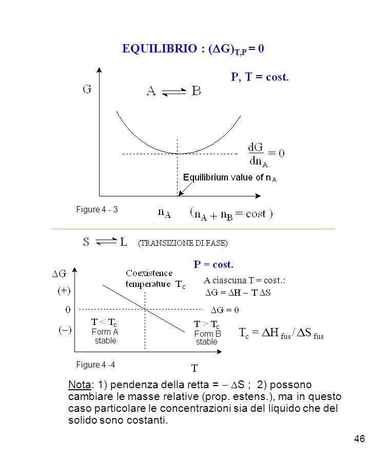46 EQUILIBRIO : ( G) T,P = 0 Nota: 1) pendenza della retta = S ; 2) possono cambiare le masse relative (prop.