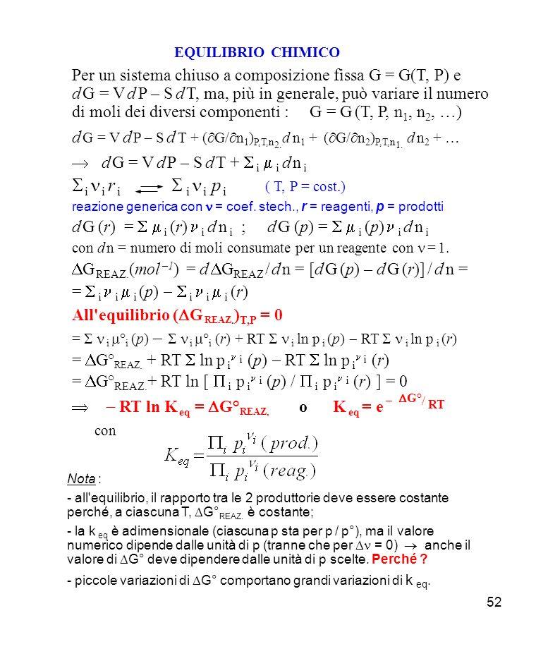 52 EQUILIBRIO CHIMICO Per un sistema chiuso a composizione fissa G = G(T, P) e d G = V d P – S d T, ma, più in generale, può variare il numero di moli dei diversi componenti : G = G (T, P, n 1, n 2, …) d G = V d P – S d T + ( G/ n 1 ) P,T, n 2.