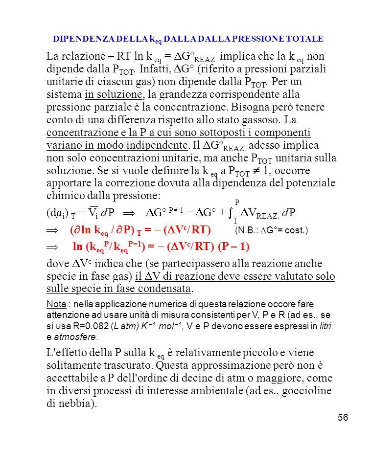 56 DIPENDENZA DELLA k eq DALLA DALLA PRESSIONE TOTALE La relazione RT ln k eq = G° REAZ.
