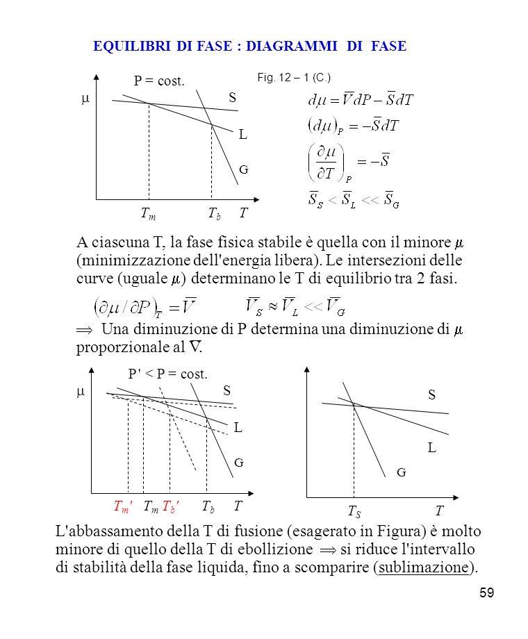 59 EQUILIBRI DI FASE : DIAGRAMMI DI FASE Fig.
