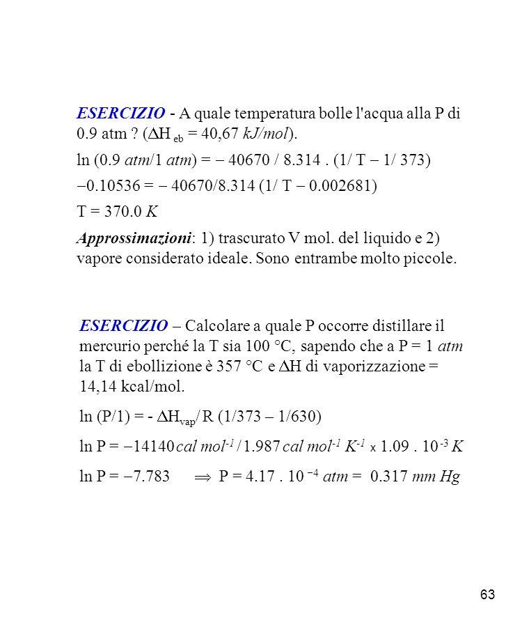 63 ESERCIZIO - A quale temperatura bolle l acqua alla P di 0.9 atm .