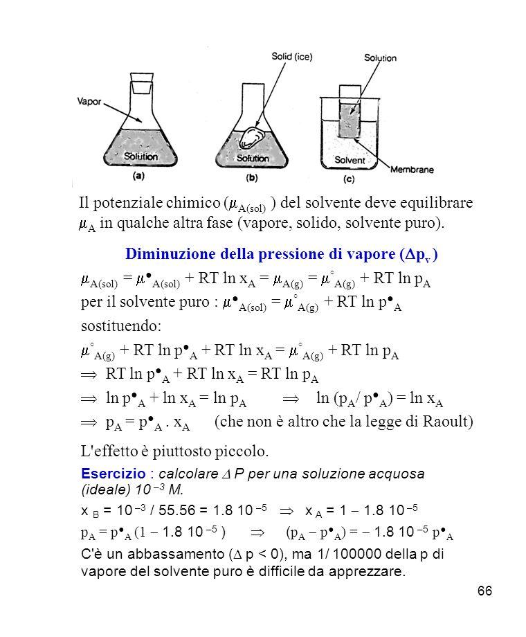 66 Il potenziale chimico ( A(sol) ) del solvente deve equilibrare A in qualche altra fase (vapore, solido, solvente puro).