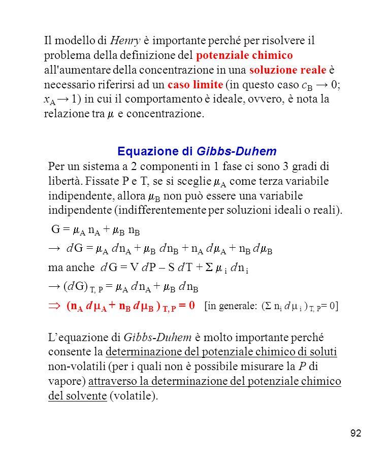 92 Il modello di Henry è importante perché per risolvere il problema della definizione del potenziale chimico all aumentare della concentrazione in una soluzione reale è necessario riferirsi ad un caso limite (in questo caso c B 0; x A 1) in cui il comportamento è ideale, ovvero, è nota la relazione tra e concentrazione.