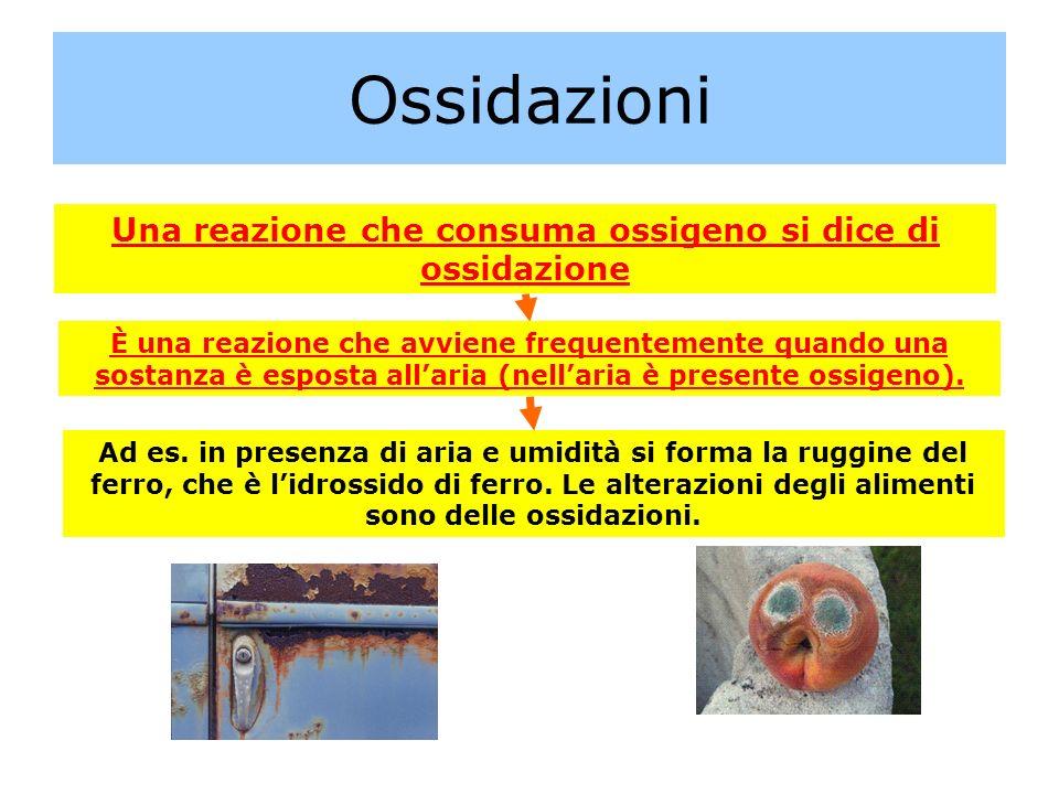 Ossidazioni Una reazione che consuma ossigeno si dice di ossidazione È una reazione che avviene frequentemente quando una sostanza è esposta allaria (