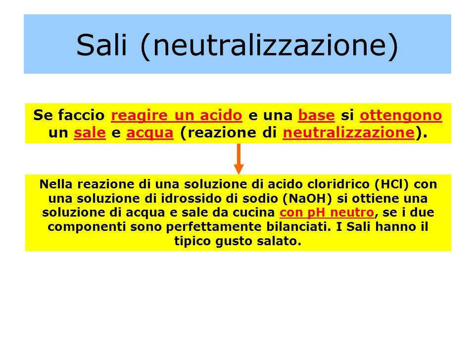 Sali (neutralizzazione) Se faccio reagire un acido e una base si ottengono un sale e acqua (reazione di neutralizzazione). Nella reazione di una soluz