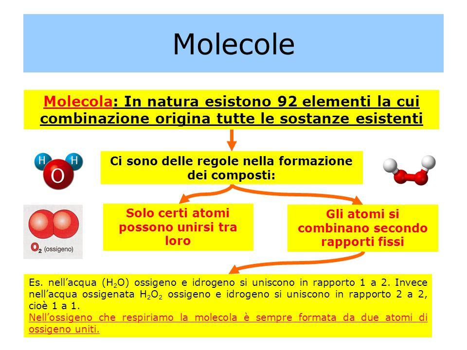 Molecole Molecola: In natura esistono 92 elementi la cui combinazione origina tutte le sostanze esistenti Ci sono delle regole nella formazione dei co