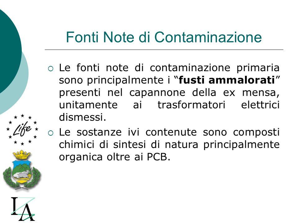 Fonti Note di Contaminazione Le fonti note di contaminazione primaria sono principalmente i fusti ammalorati presenti nel capannone della ex mensa, un